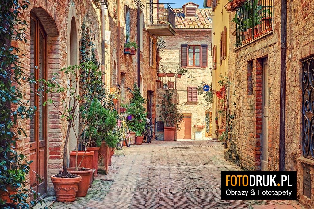 Uliczka w Toskanii - Obrazy na płótnie i fototapety na ścianę