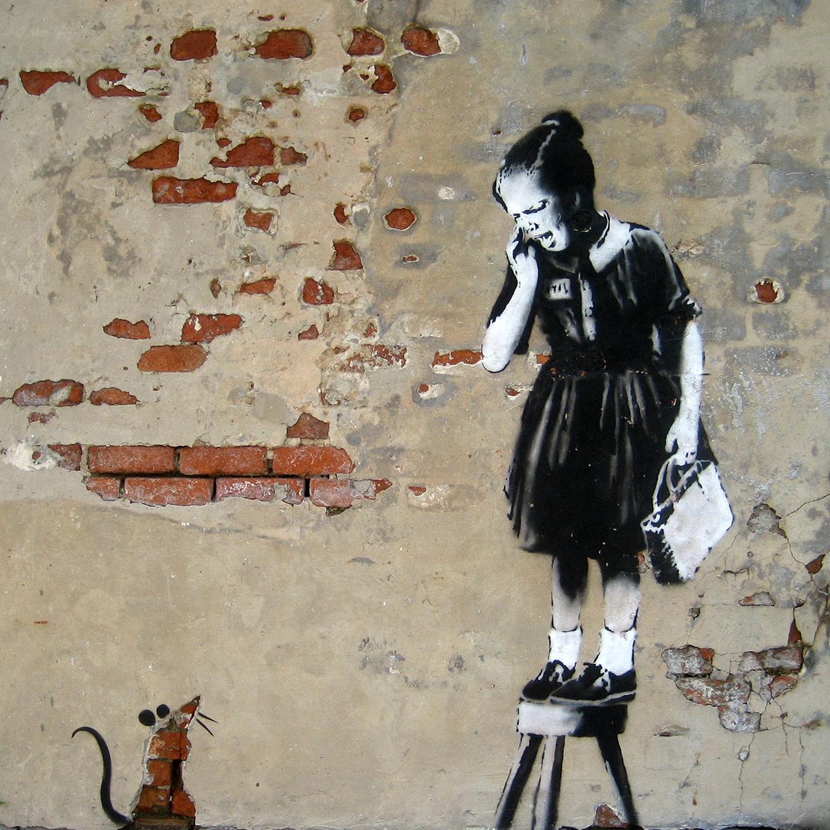 Banksy Ratgirl Artwork - Nowoczesny obraz na ścianę
