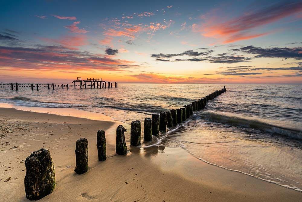 Zachód słońca nad Morzem Bałtyckim w Mielnie